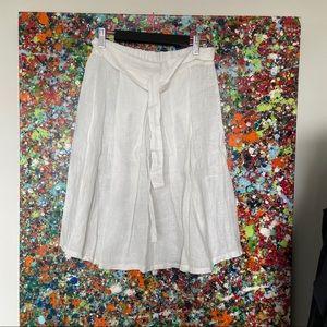 Designer light white linen skirt
